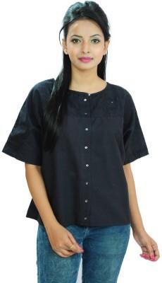 Goodwill Impex Women's Self Design Casual Blue Shirt