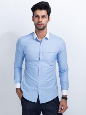Mr Button Men's Solid Formal Blue Shirt