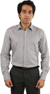 Desar Rana Men's Checkered Formal Grey Shirt