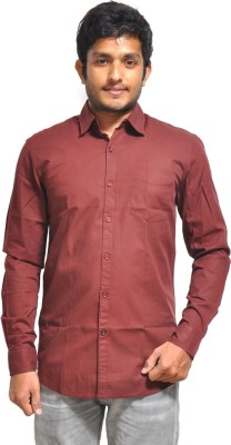 Red Cotton Men's Solid Formal Maroon Shirt