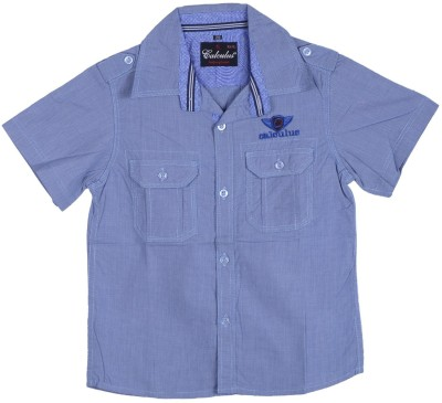 Calculus Boy's Solid Casual Blue Shirt