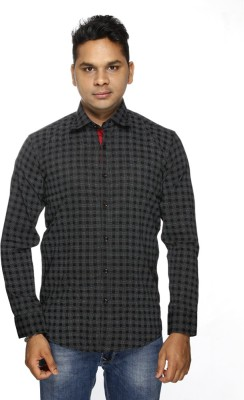 ALBI NYC Men's Printed Casual, Formal Black Shirt