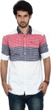 FRD13 Men's Striped Casual Red Shirt