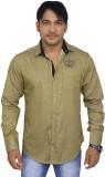 4guys Men's Solid Casual Green Shirt