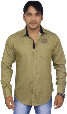 4guys Men's Solid Casual Green Shirt