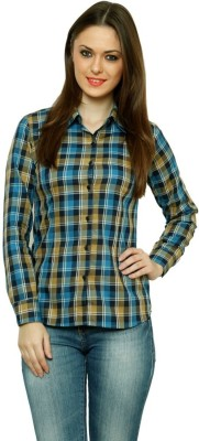 99 Hunts Women's Checkered Casual Blue, Brown Shirt