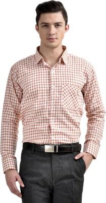 Comfortline Men's Checkered Formal Orange Shirt