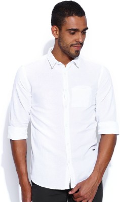 POE Men's Solid Casual White Shirt