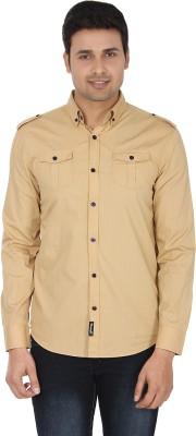 Suchos Men's Solid Casual Beige Shirt