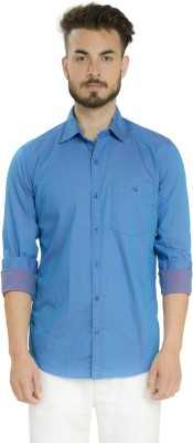 Club X Men's Solid Formal, Casual Blue Shirt