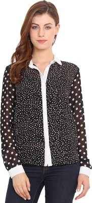 Ama Bella Women's Polka Print Casual Blue, White Shirt