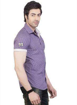 Eden Elliot Men's Checkered Casual Purple Shirt