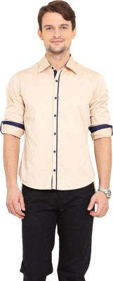 Western Vivid Men's Solid Casual Beige Shirt