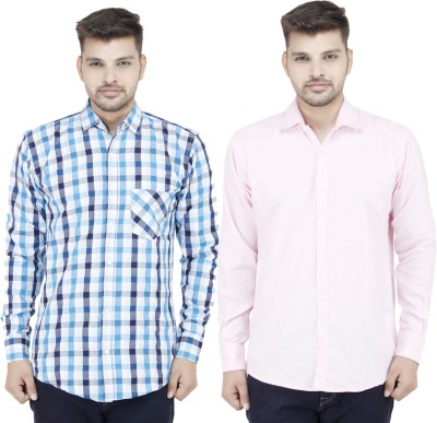 Movitex Men's Checkered Casual Blue, Pink Shirt