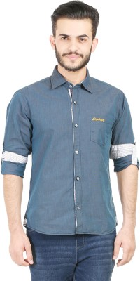 SupeRugby Men's Solid Casual Blue Shirt