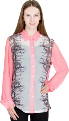 JAPPSHOP Women's Paisley Casual Pink Shirt