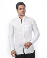 Granthh Formal Shirts (Men's) - GRANTHH Men's Solid Formal Linen White Shirt