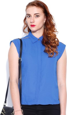 Dressberry Women's Solid Casual Blue Shirt