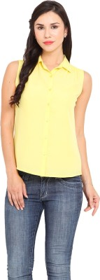 La Stella Women's Solid Casual Yellow Shirt