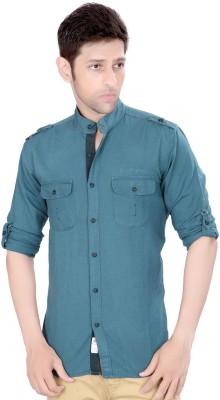 Ecohawk Men's Solid Casual Blue Shirt