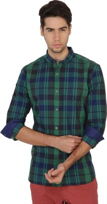 French Connection Men's Checkered Casual Green Shirt