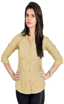 Jazzy Ben Women,s Solid Formal Beige Shirt