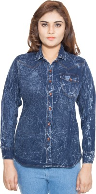 Swiss Culture Women,s Solid Casual Denim Dark Blue Shirt