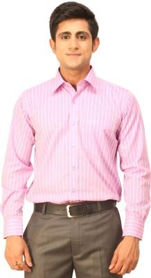 Seven Days Men's Striped Formal Purple, White Shirt