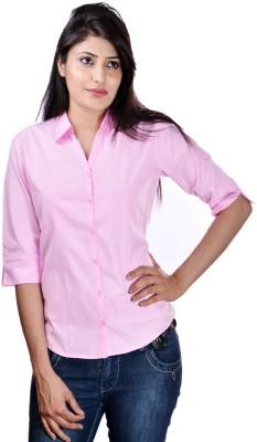 Shop Avenue Women's Solid Casual Pink Shirt