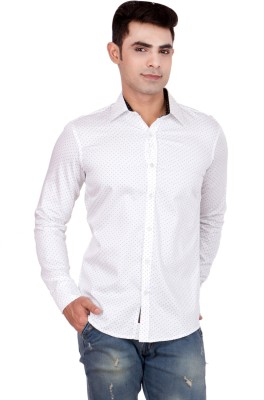 FDS Men,s Animal Print Casual Reversible White Shirt