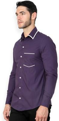 Blackbuk India Men's Solid Casual Purple Shirt