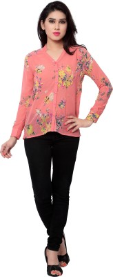SFDS Women's Floral Print Casual Pink Shirt