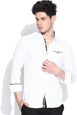 Being Human Men's Solid Casual White Shirt