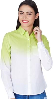 American Swan Women's Solid Formal Green Shirt