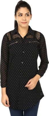 Yashasvi Women's Polka Print Casual Black, White Shirt