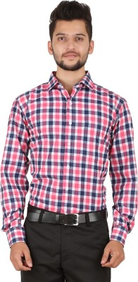 Stylo Shirt Men's Checkered Casual Pink Shirt