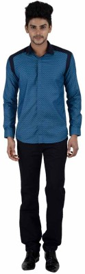 Independence Men's Checkered Formal Blue Shirt