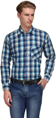 Ausy Men's Checkered Casual White, Blue Shirt