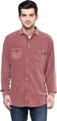 CODE 61 Men's Self Design Casual Pink Shirt