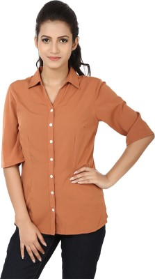 Tops And Tunics Womens Solid Formal Brown Shirt