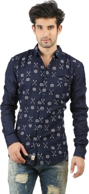WEST FLAX Men's Printed Casual Blue Shirt
