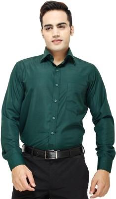 Shine Shirts Men's Solid Formal Dark Green Shirt