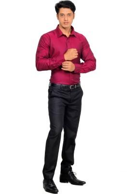 Green Bows Men's Solid Formal Maroon Shirt