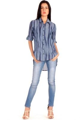 MIST ISLAND Women's Printed Casual Blue Shirt