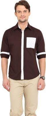 Western Vivid Men's Solid Casual Brown Shirt