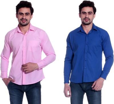 Calibro Men's Solid Formal Pink, Blue Shirt