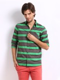 Sher Singh Men's Striped Casual Grey, Gr...