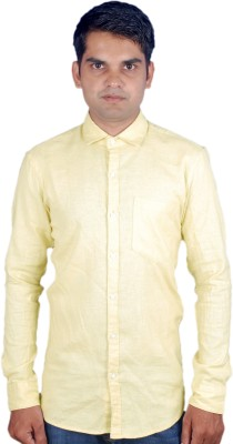 maclavaro Men's Solid Casual Beige Shirt