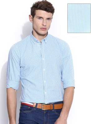 Mast & Harbour Men's Checkered Formal Blue Shirt