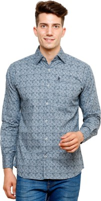Ebry Men's Printed Casual Grey Shirt